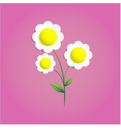 flower paper cut on pink background vector image