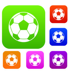 football soccer ball set color collection vector image