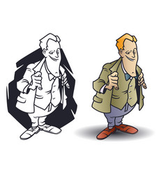 Funny little men cunning man sly businessman vector