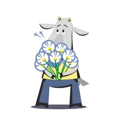 Goat with bouquet of flowers 03 vector image