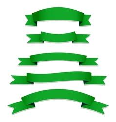 Green Ribbons Flags vector image