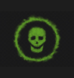 green smoke skull sign in circle vector image