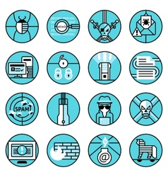 Hacker icons set blue line vector image