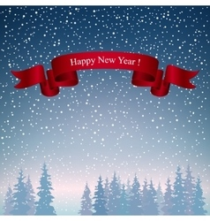 Happy New Year Landscape in Dark Blue Shades vector