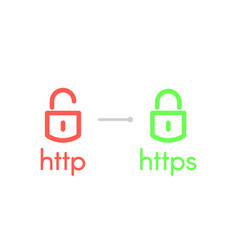 http and https security certificates vector image
