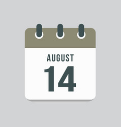 Icon day date 14 august template calendar page vector