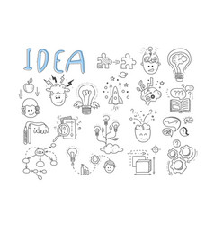 idea icons set rocket puzzles rotating gears vector image