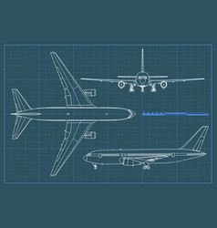 industrial blueprint of airplane outline vector image