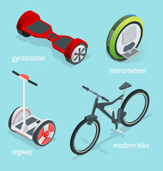 isometric set of alternative eco transport vector image