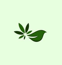 leaf marijuana ecology bio modern logo vector image