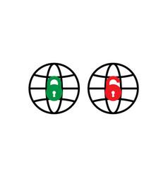 lock and unlock padlock icon globe icon vector image