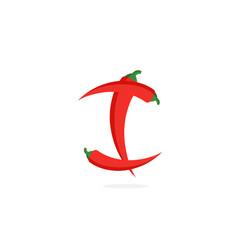 logo red chili pepper letter i vector image