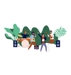 male team concert boys band men musicians or pop vector image