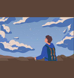 Man looking at night starry sky flat vector