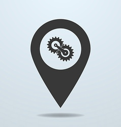Map pointer with a gears vector image