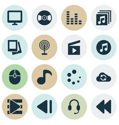 Media icons set collection of album cinema clap vector