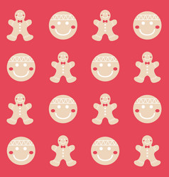 merry christmas gingerbread seamless pattern vector image