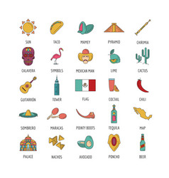 mexico icon set cartoon style vector image