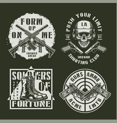 monochrome army and military emblems vector image