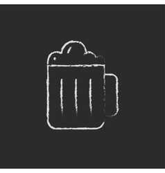 Mug of beer icon drawn in chalk vector image