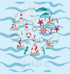 nautical background hand drawn elements vector image