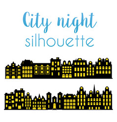 night silhouette city vector image