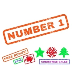 Number 1 Rubber Stamp vector