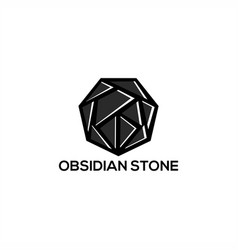 obsidian stone logo vector image