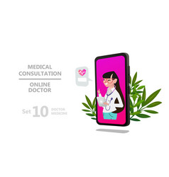 online doctor woman character or patient consultat vector image