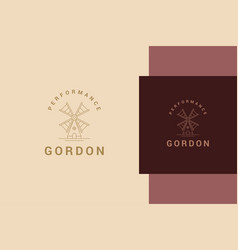 Outline logo traditional windmill line style vector