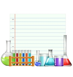 Paper design with beakers and testtubes vector image