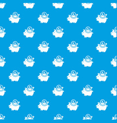 Pig money pattern seamless blue vector