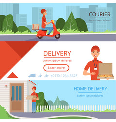 pizza delivery banners fast food courier order vector image