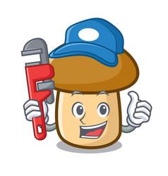 Plumber porcini mushroom mascot cartoon vector