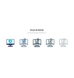 Plus 18 movie icon in different style two vector