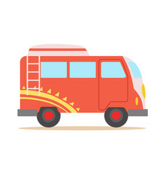 Red minivan with cool pattern classic woodstock vector