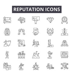 Reputation line icons signs set outline vector