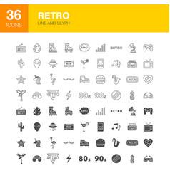 Retro line web glyph icons vector