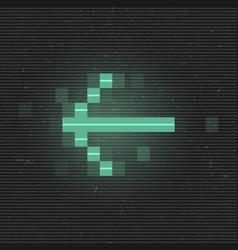 Retrofuturistic glitch left arrow green glowing vector