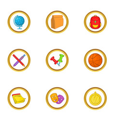 School lessons icons set cartoon style vector
