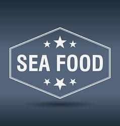 sea food hexagonal white vintage retro style label vector image