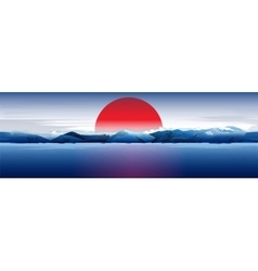 Sea Mountains And Red Sun vector image