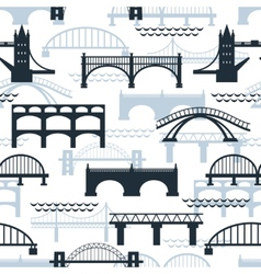 seamless pattern bridge silhouettes vector image