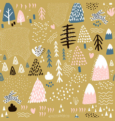 Seamless pattern with bunny forest elements and vector