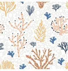 seamless pattern with orange and blue corals vector image
