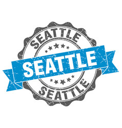 Seattle round ribbon seal vector