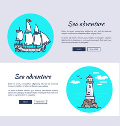set banners dedicated to sea adventure vector image
