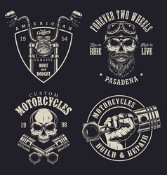 set custom motorcycle emblems vector image
