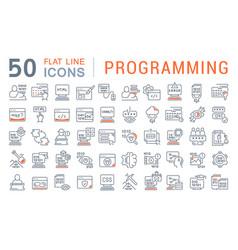 Set line icons programming vector