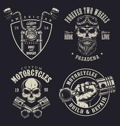 set of custom motorcycle emblems vector image vector image